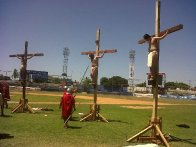 Mazatlán: Jesus and the two thieves on the cross, in the baseball stadium, image from PAJUMA