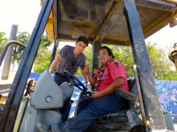 Danny and Noel, bulldozer driver extraordinaire