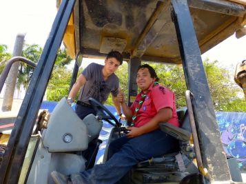 Danny and Noel, bulldozer driver extraordinaire