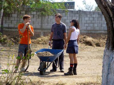 Wheelbarrowing dirt to fill in ruts