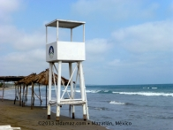 Lifeguard stand and palapas/huts