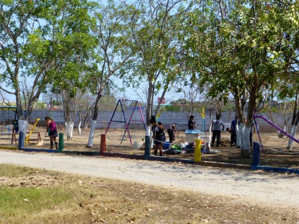 View of the playground and some workers