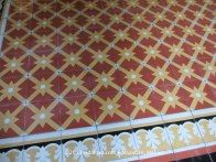 Closeup of the intricately tiled floor