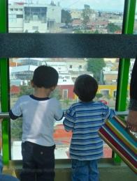 Kids inside the gondola