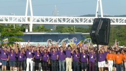 Purple team cheers