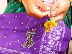 Huichol lady beading