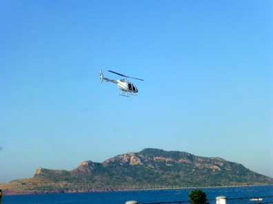 Helicopter over Deer Island