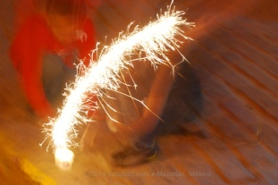The sparkler catches fire