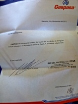 Five certificates for 30 kg of gas from GasPasa