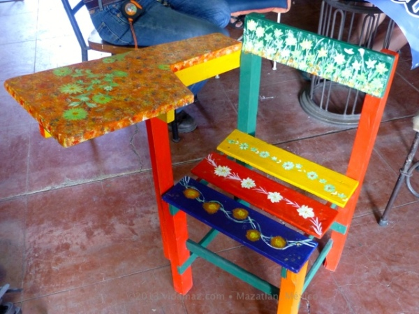 A handpainted wooden school desk