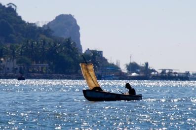 A panga with homemade sail