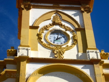 Closeup of the clock on the church