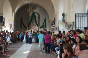 Inside the church in Mochicahui, before things got crazy