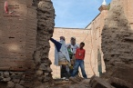 Standing around in the ruins of the old mission