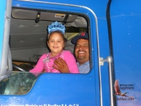 Truck driver brings his daughter