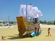 The Hasekura ship from the Carnavál parade, parked in front of the Convention Center
