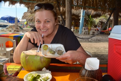 Me eating both, the oysters and the coconut!