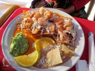 The shrimp chilaquiles are my recommendation—huge shrimp