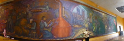 A beautiful and very huge mural in the hallway of the hacienda