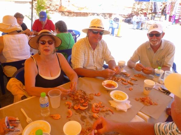 Enjoying the shrimp