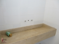 Molded concrete sink in the bathroom
