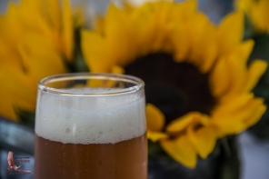 A glass of the Tres Islas micro-brew beer