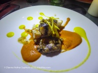 7. Course 5: Black Fish: Corbina sautéed in black olive oil, suero costeño, and served with ricotta- and mango-stuffed raviolis with sweet chile and ginger romesco, and two mango sauces: fresh and preserved, with jicama on top. Again with Chardonnay.