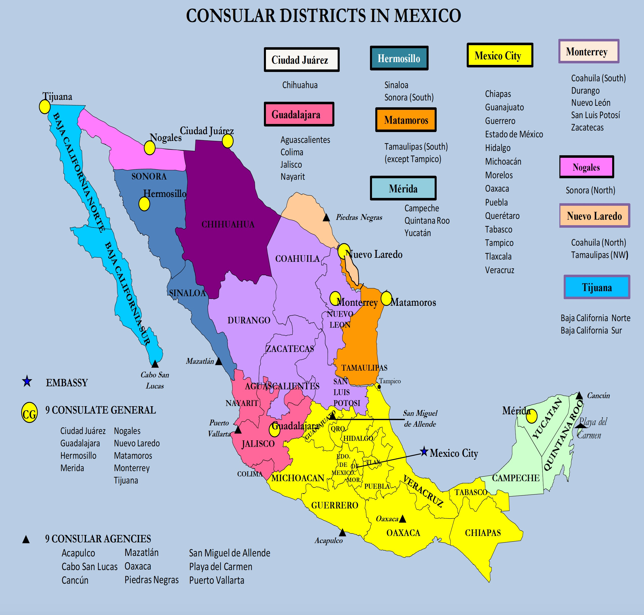 Map Of Mexico By State And Cities