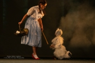 Dorothy and Toto with the witch's broomstick